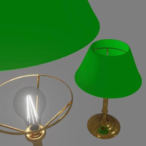 Brass desk lamp, with translucent green shade and glowing light bulb filament. #blender3d