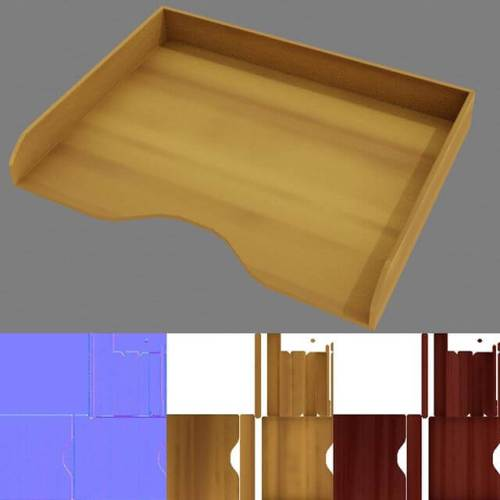 Geometry and color maps for wooden desk tray. #Blender3D #practice