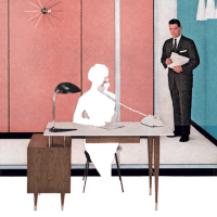Outline of a female executive assistant seated at the front desk of a retro office, with a smiling male executive in a business suit waiting for her to finish her phone call so he can ask her something.