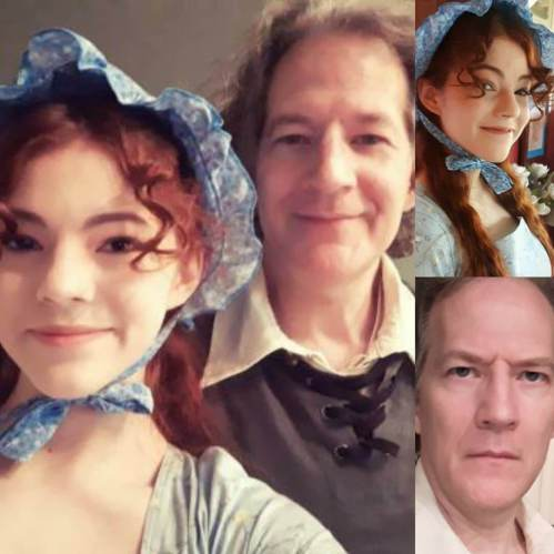 On set as Betsy and Philip Schulyer in an historical film.