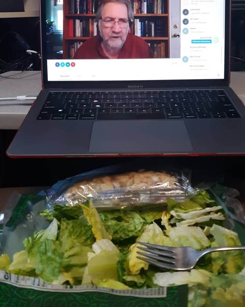Eating a classic Ceasar salad (from the bag) with a lecture from PICT Classic Theatre.