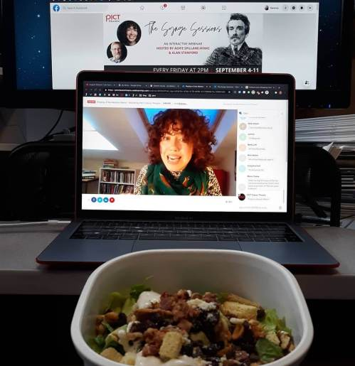 Lunch at my desk, attending a lecture on John Millington Synge, with director Aiofe Spillane-Hinks in Dublin, thanks to Pict Classic Theatre.