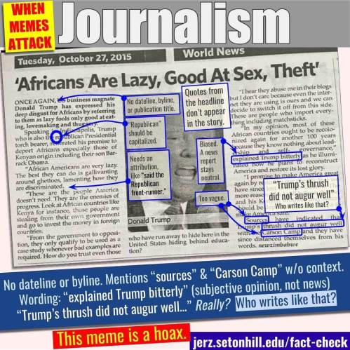 "Meme alleging Trump said ""Africans Are Lazy, Good at Sex, Theft"" is a hoax"