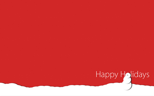 Happy Holidays Red Snowman Image. Courtesy Creative Commons.