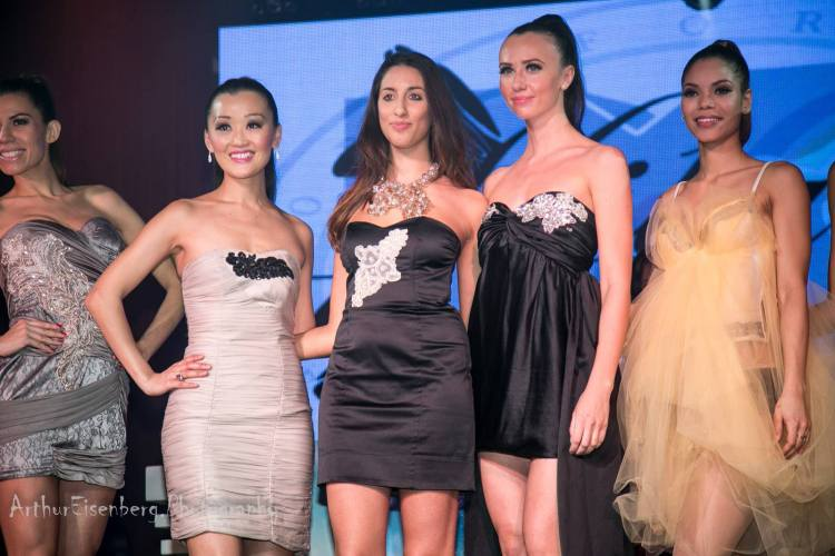 Designer Pamela Quinzi for Kilame Designs, with models (Photo by: Arthur Eisenberg Photography)