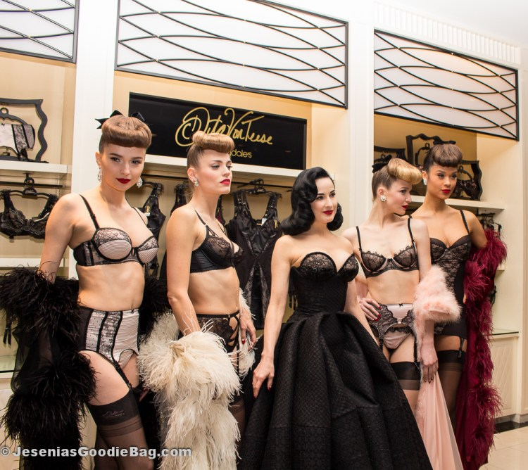 Dita Von Teese with her lingerie models