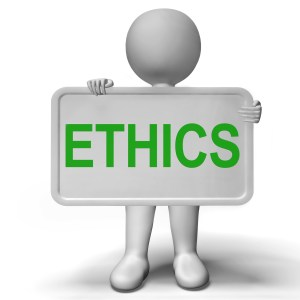 Ethics Sign Shows Values Ideology And Principles