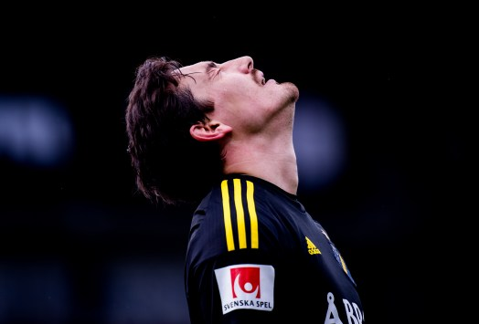 Stefan Ishizaki - AIK, is dejected after missing a good scoring chance in the game against IFK Norrköping. 2016-04-17