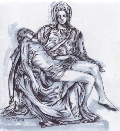 """the Pieta"", pen and marker on A4 sized paper, 2013"