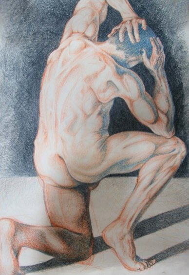 """Nude man"", 16 hours, coloured pencil on A1 sized paper, 2014"