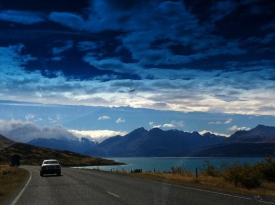 Alongside Lake Pukaki, en route to Mt. Cook
