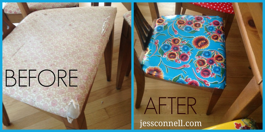 recovering chair cushions vinyl high argos oilcloth covered dining chairs tutorial jess connell beforeafter jessconnell com