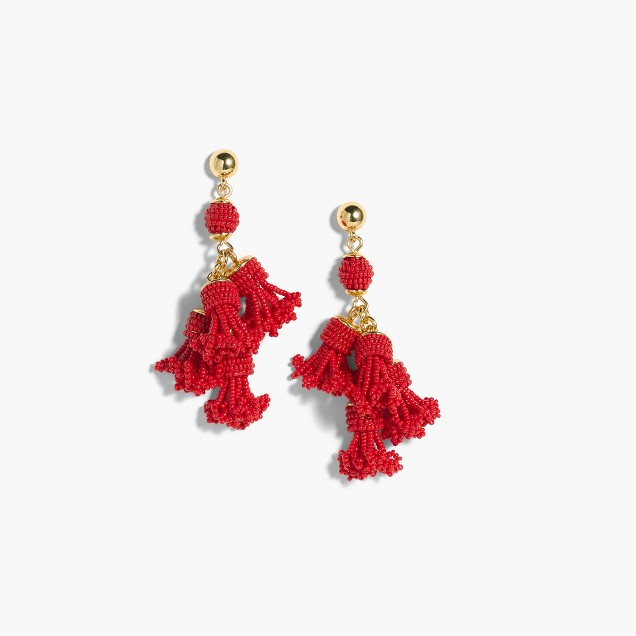J Crew - Beaded Tassel Chandelier Earrings - £78