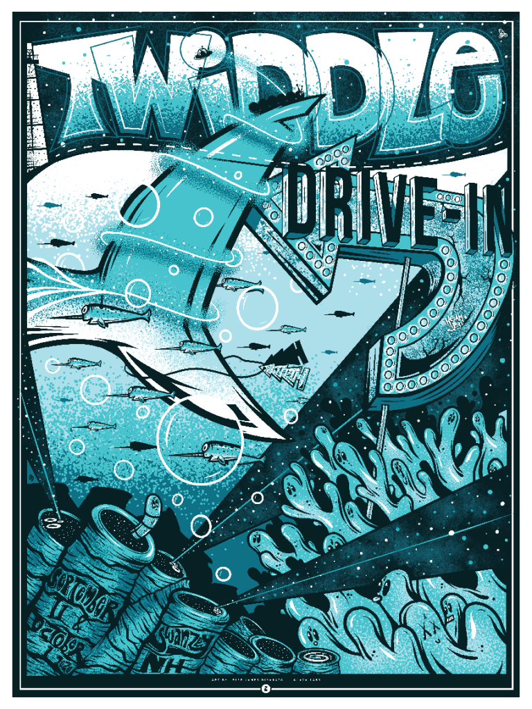 "Swanzey, NH | 9.11 & 10.1 Drive In | 18""x24"" 4 Color Screenprint"