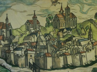 Medieval town mural jesse hawley illustration