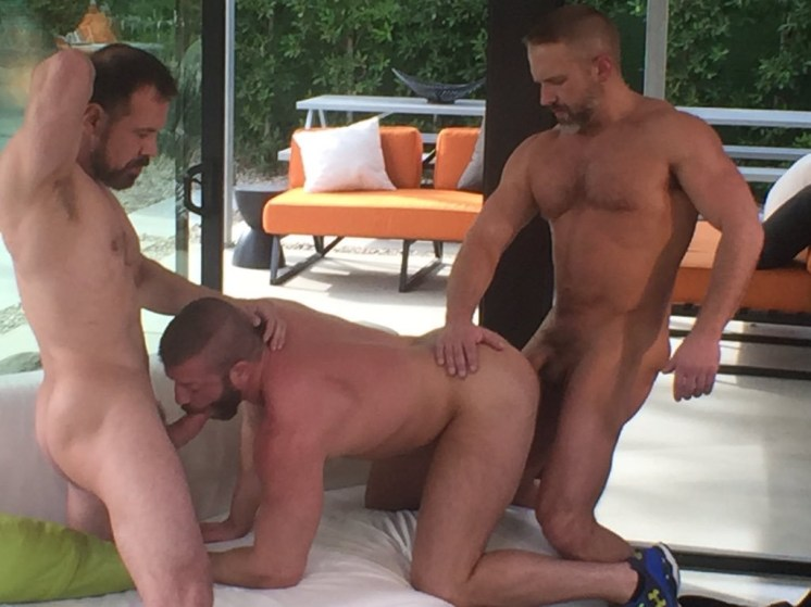 Max Sargent and Dirk Caber spit-roasting Hunter Marx