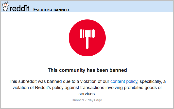 Reddit Escorts Banned (Frame)