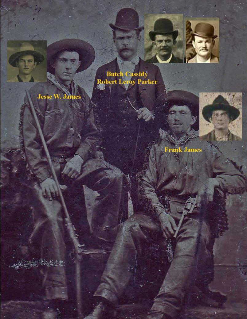Butch Cassidy with Frank and Jesse James