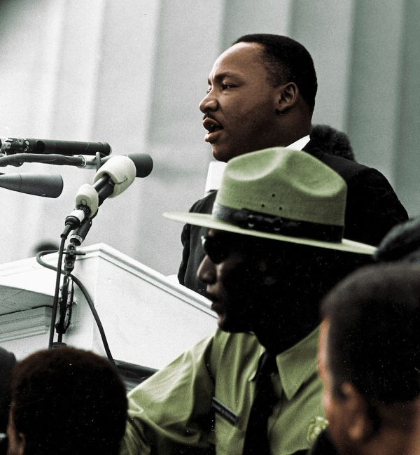 "Martin Luther King, Jr. giving his ""I Have a Dream"" speech in Washington, DC."