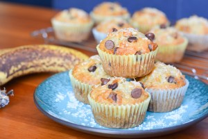 Chocolate Chip Coconut Banana Muffins