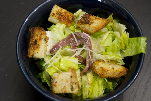 Caesar Salad with Homemade Dressing and Sourdough Herb Croutons