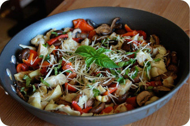 Warm Portabella, Artichoke and Roasted Red Pepper Salad