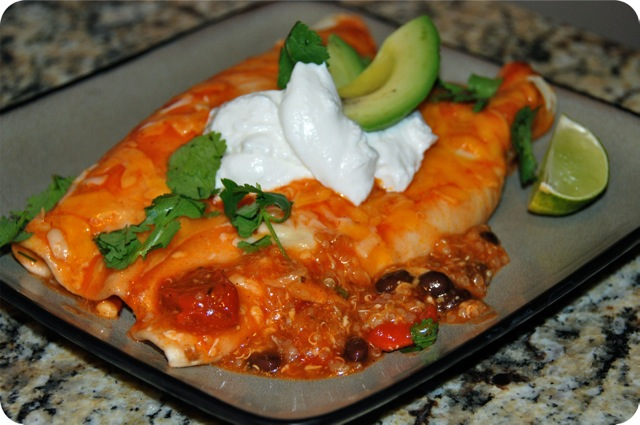 Roasted Red Pepper and Quinoa Enchiladas