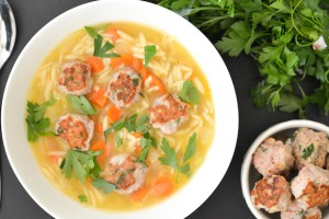 Lemon Orzo Soup with Turkey Mini Meatballs