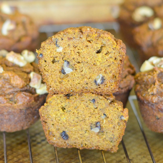 These Pumpkin Chia Seed Muffins are dairy-free yet super moist, light and fluffy. Ground chia seeds give them a silky texture and pack in lots of nutrients!
