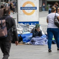 Homelessness at Stratford Station, Newham East London.