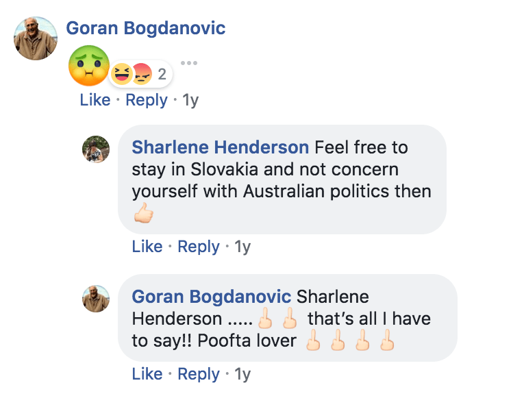 messages of hate screenshot from facebook