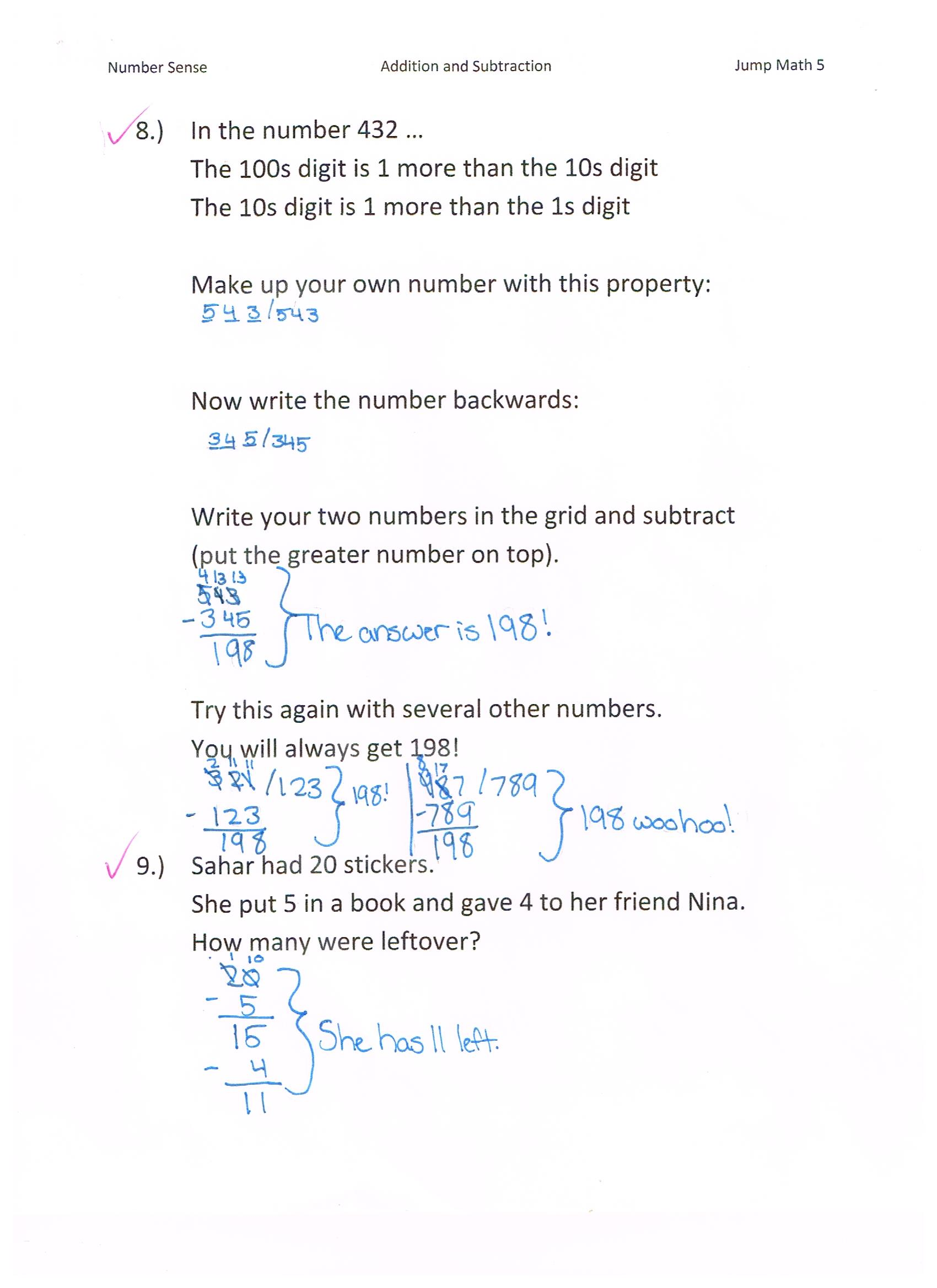 hight resolution of Jump Math 5.1 Number Sense – Additions \u0026 Subtraction – Page 59   Jessica's  School Work \u0026 Projects