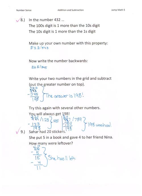 small resolution of Jump Math 5.1 Number Sense – Additions \u0026 Subtraction – Page 59   Jessica's  School Work \u0026 Projects