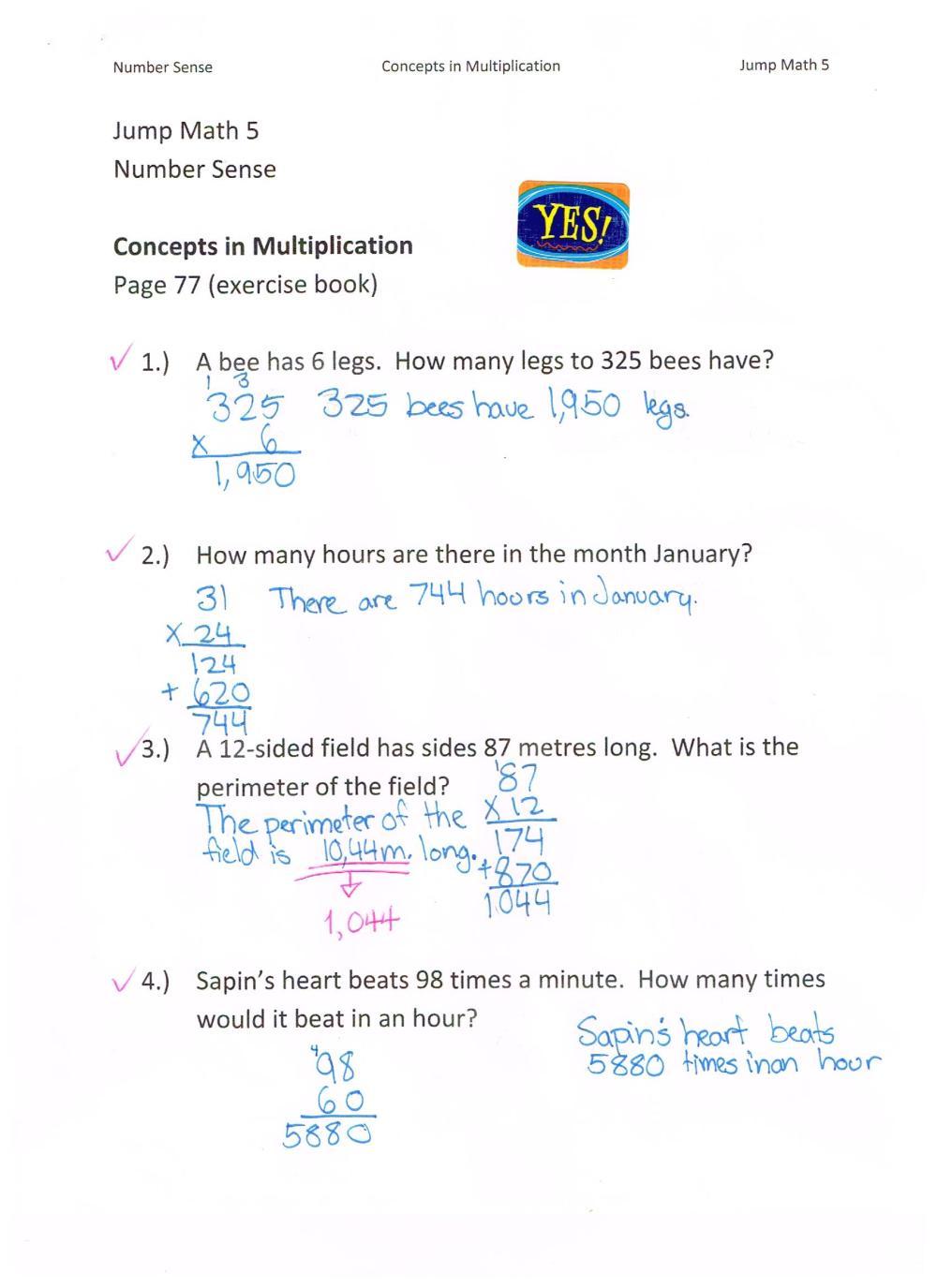 medium resolution of Jump Math 5.1 Number Sense – Multiplication – Page 77   Jessica's School  Work \u0026 Projects
