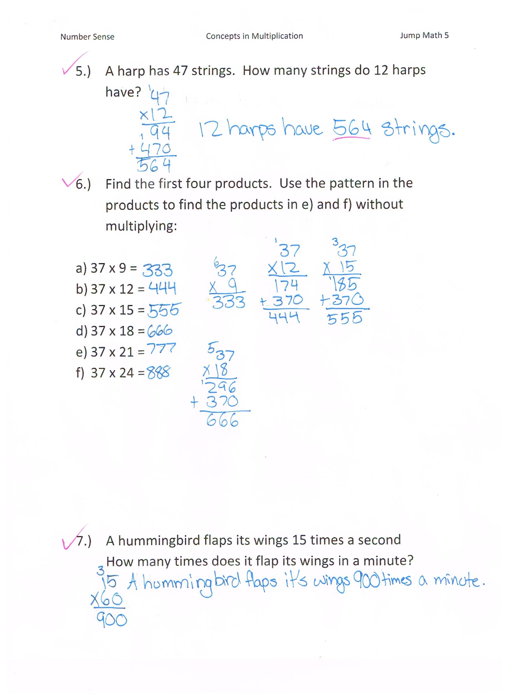 Jump Math 5 1 Number Sense Multiplication Page 77
