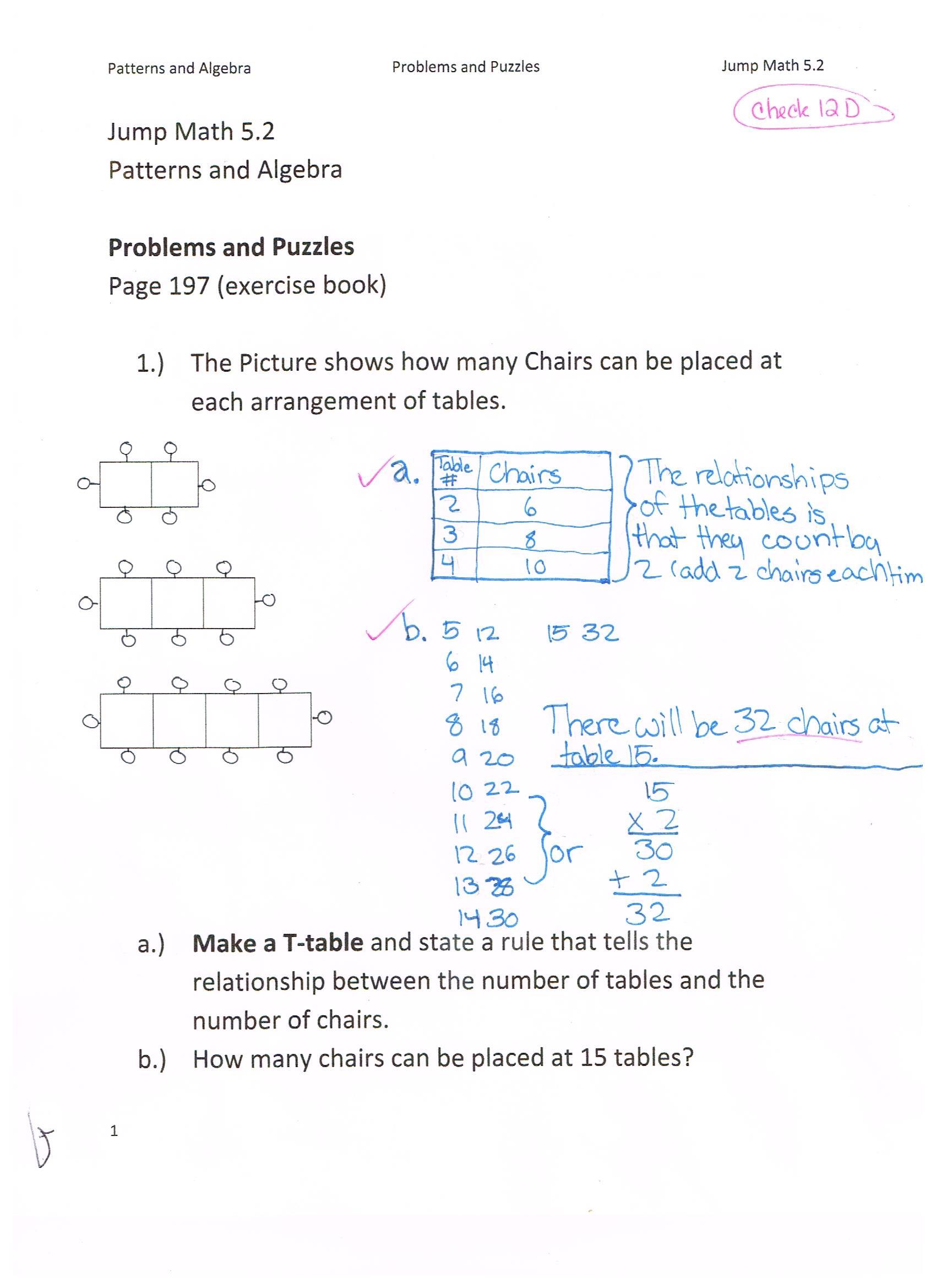 Jump Math 5 2 Patterns Amp Algebra Word Problems Page 197