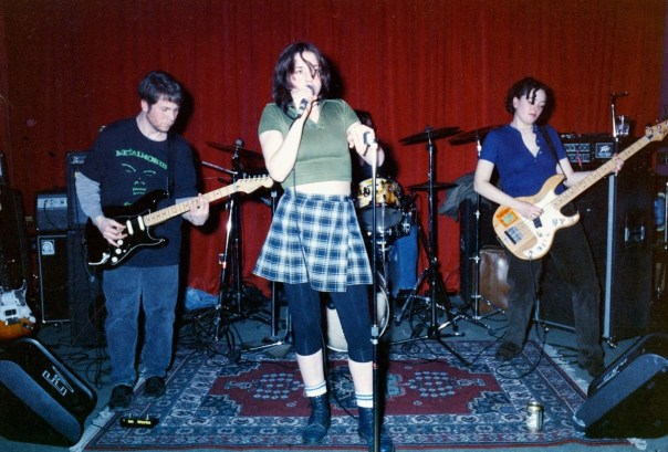 Bender 1994. Tom Valenzano, Jessica Abel, Stuart Grais, and Sharon Maloy. playing at Wild Cherry in Chicago.