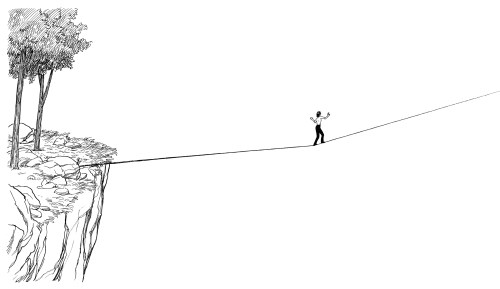 Woman walking on a tightrope or slack rope between two cliffs. From Out on the Wire, By Jessica Abel. It represents the creative risks people must take to create great work.