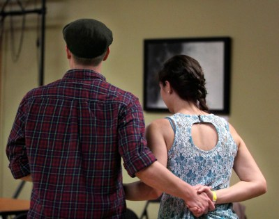Hannah Fakoury and her boyfriend Kolman McMurphy celebrate dating for a year and a half by promenading at the Emerald Ballroom's contra dance Saturday, February 18.