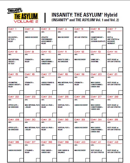 Insanity Asylum Calendar | Smart Ass Fitness