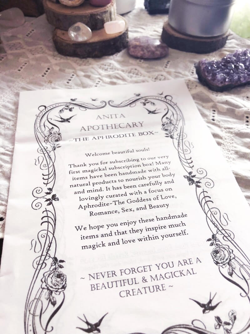 My review of the new witchy subscription box by Anita Apothecary #anitaapothecary #witchybox #witchyblog #witchythings #subscriptionbox #aphrodite