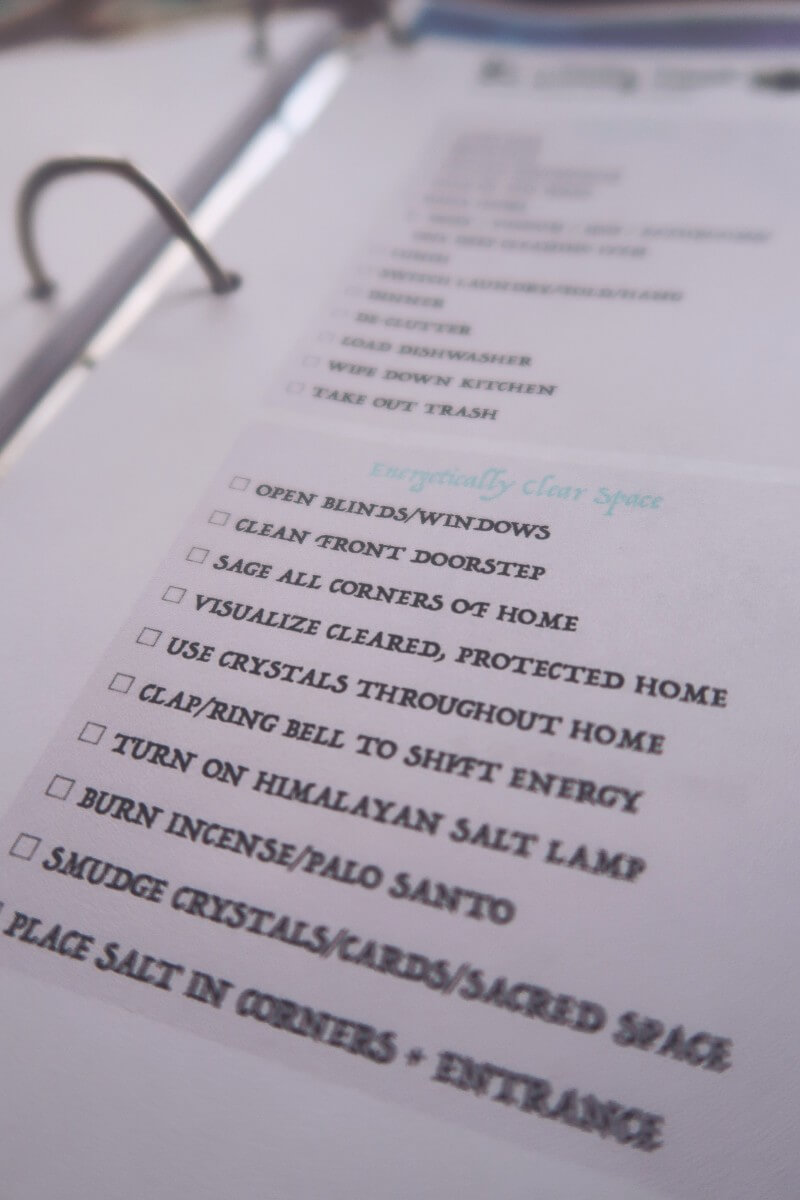 Moon ritual worksheets, clearing your home checklist