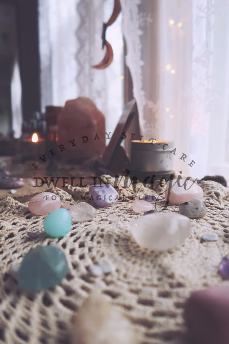 Crystal healing, witchy self-care routine