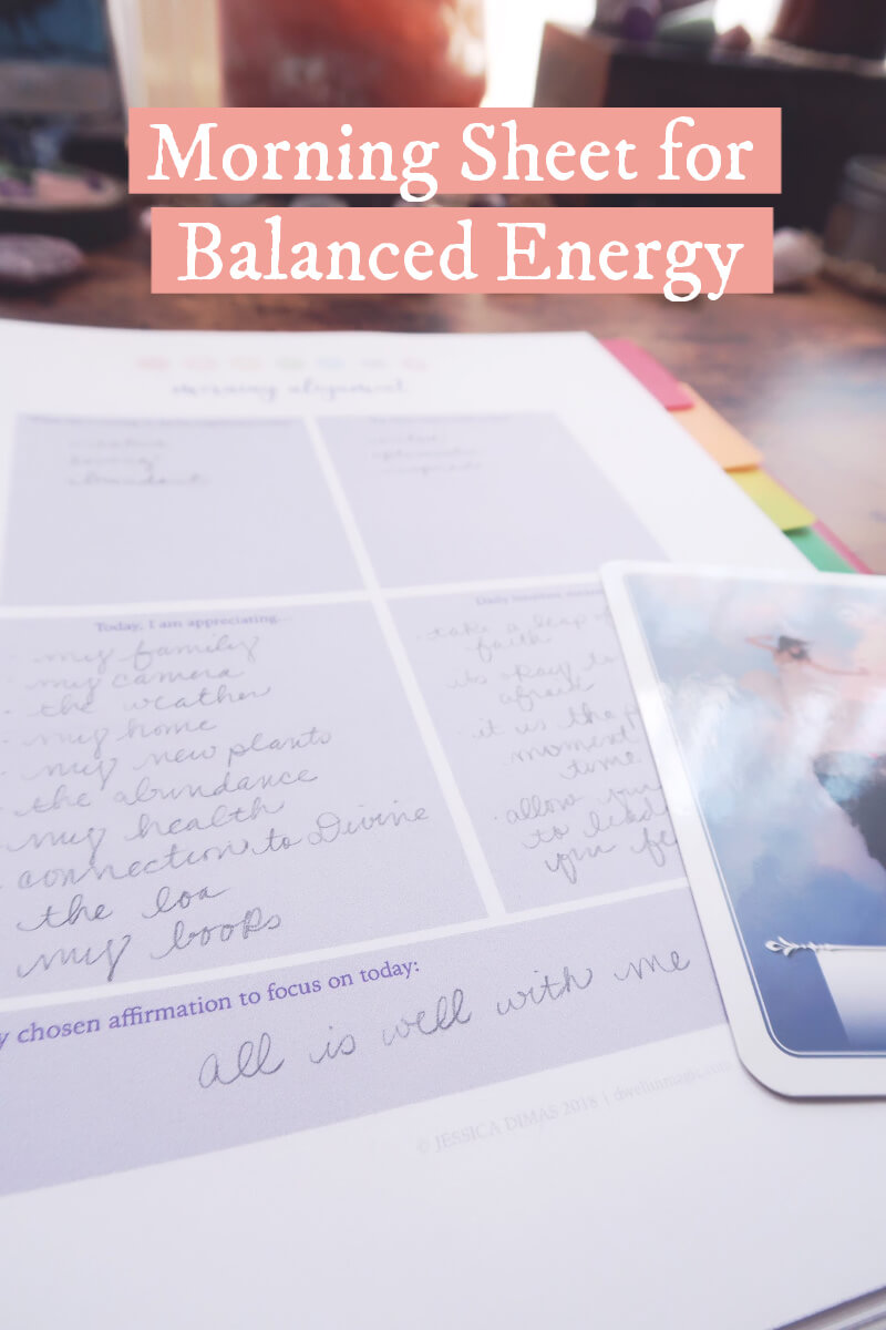 Morning sheet for balanced chakras, energy and alignment