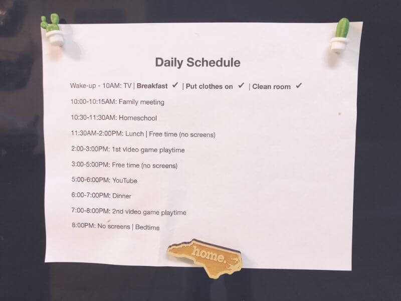 daily schedule for kids