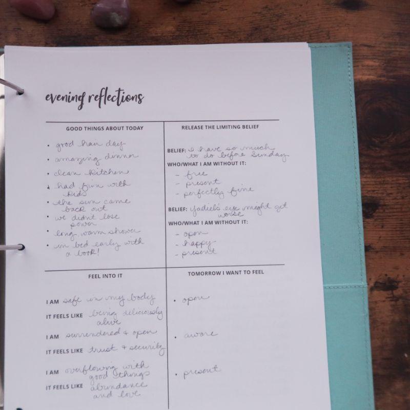 Nightly manifesting sheet for manifestation journal