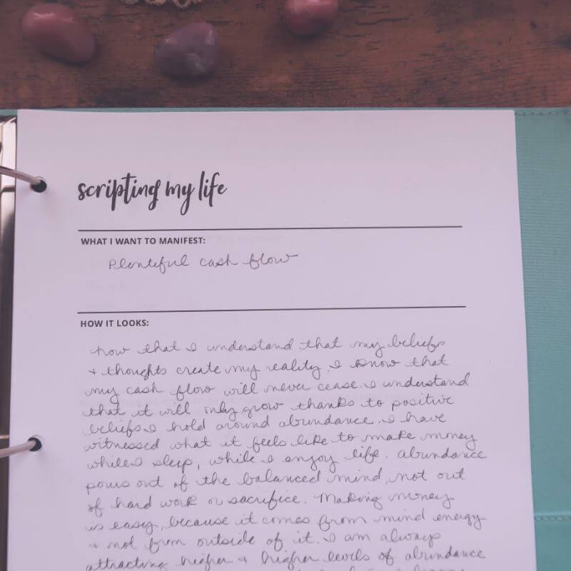 Scripting page for manifestation journal