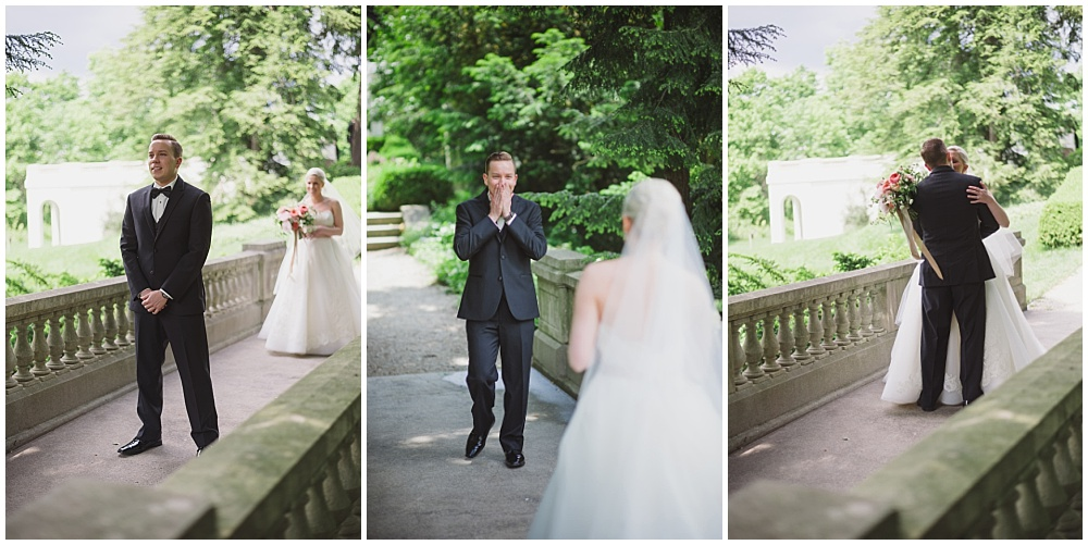 Bride and Groom's emotional first look   Ritz Charles Garden Pavilion Wedding by Stacy Able Photography & Jessica Dum Wedding Coordination