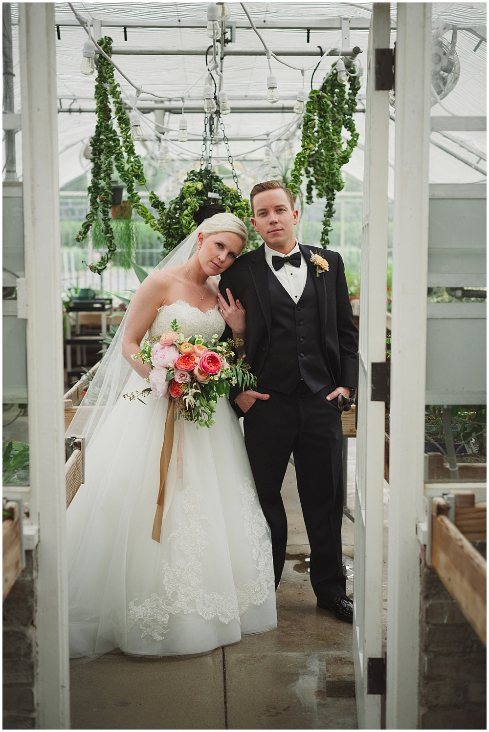 Bride and Groom greenhouse portraits   Ritz Charles Garden Pavilion Wedding by Stacy Able Photography & Jessica Dum Wedding Coordination