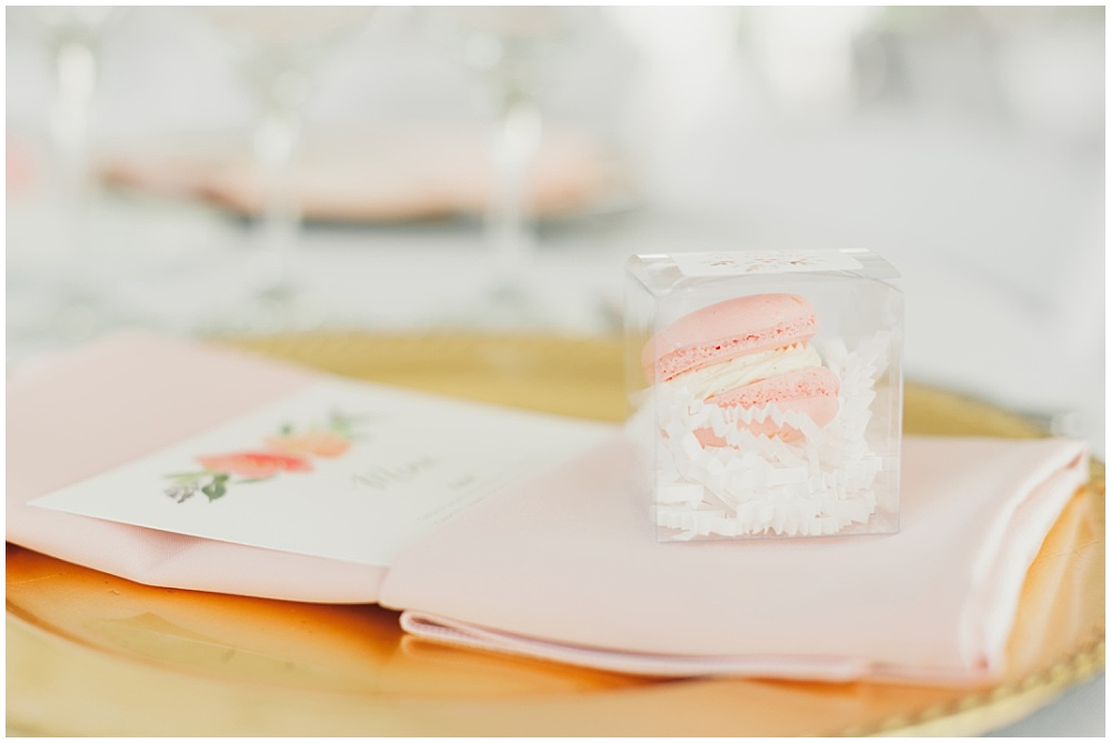Blush macaron flavors and watercolor menus   Ritz Charles Garden Pavilion Wedding by Stacy Able Photography & Jessica Dum Wedding Coordination